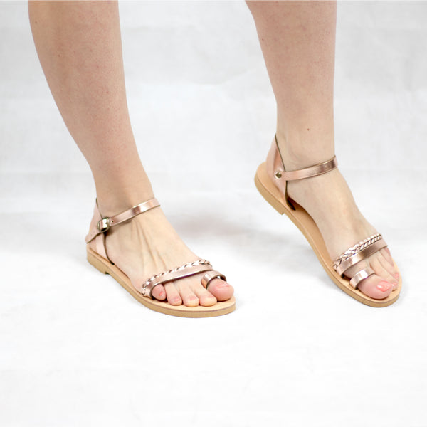 Braided Greek sandals model