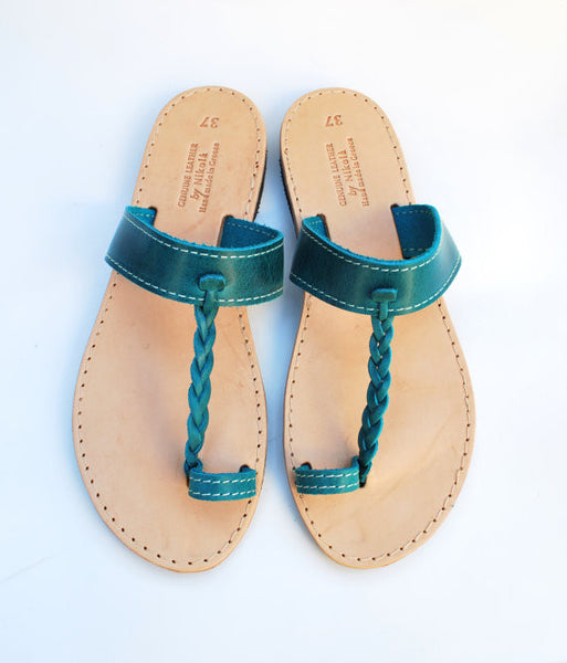 Braided toe ring leather sandals in turquise