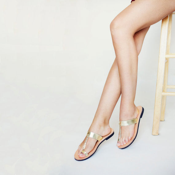 Braided toe ring leather sandals gold