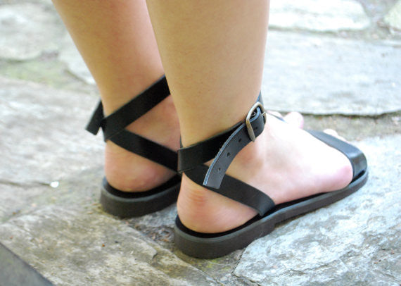 "City ""Sophia"" ankle strap leather sandals back view"