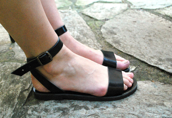 "City ""Sophia"" ankle strap leather sandals side view"