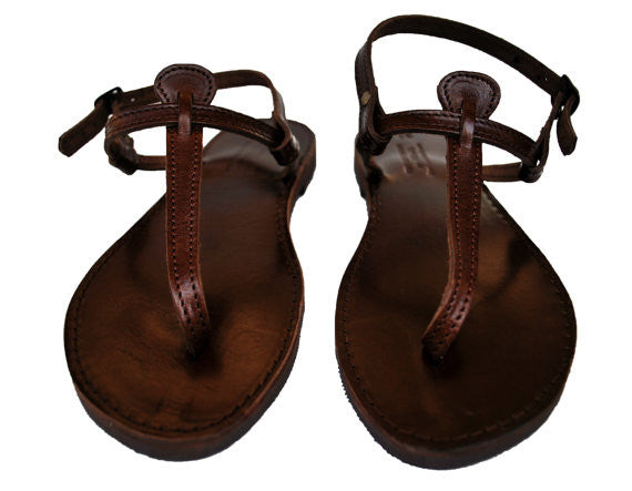 "T strap ""Antigoni"" dark brown sole leather sandals front view"