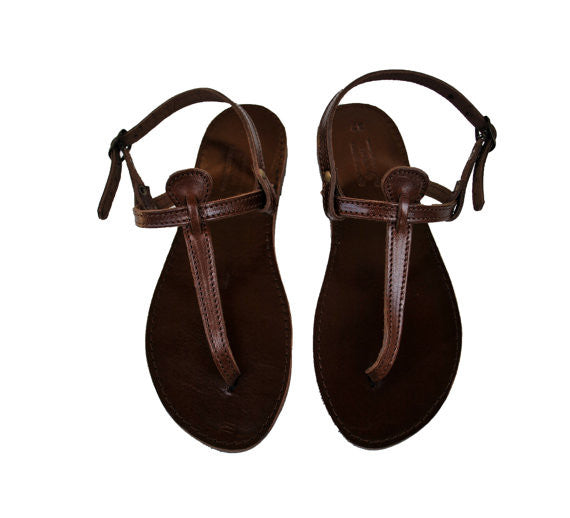 "T strap ""Antigoni"" dark brown sole leather sandals"
