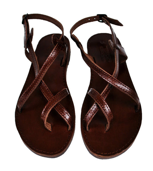 Dark brown double strap front view