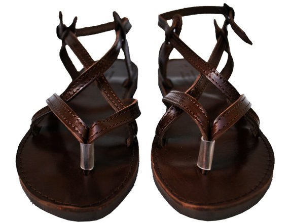 Dark brown sole sandals fron view