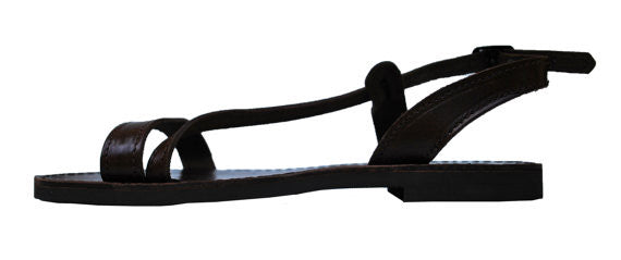 Dark brown Niki fashion sandals side view
