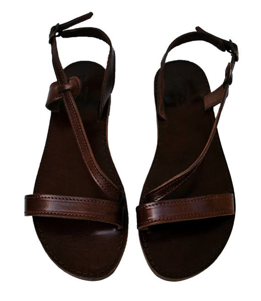Dark brown Niki fashion sandals front view