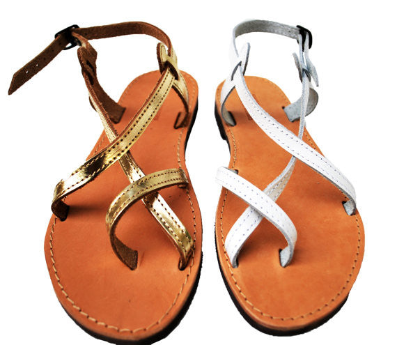 Double strap gold and white sandals