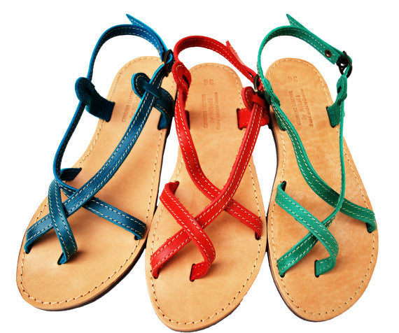 Double strap blue, red and green sandals