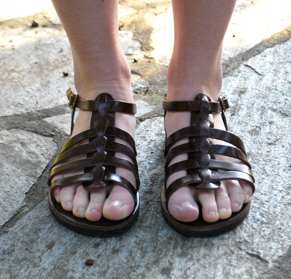 "Gladiator ""Alexandra"" leather sandals front view"
