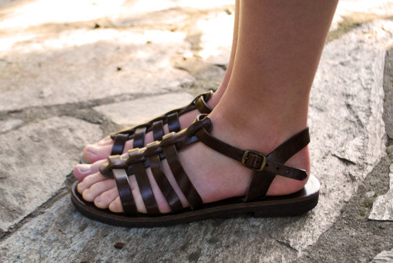 "Gladiator ""Alexandra"" leather sandals side view"