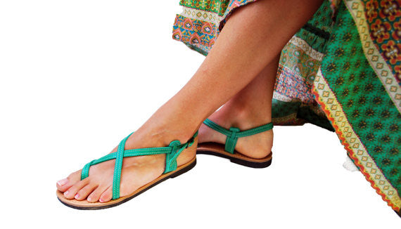 Double strap green sandals