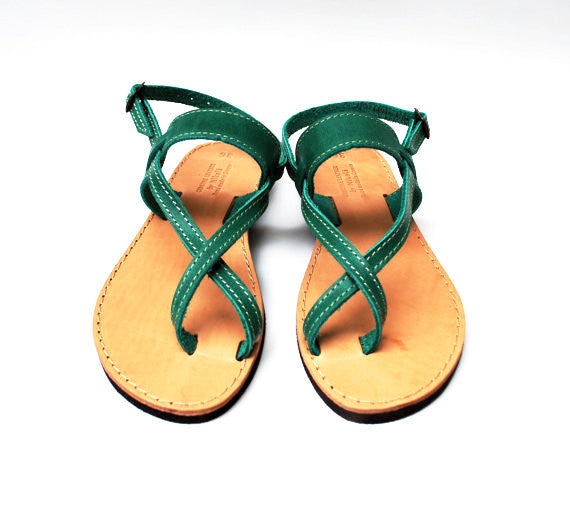 Green toe wrapper sandal