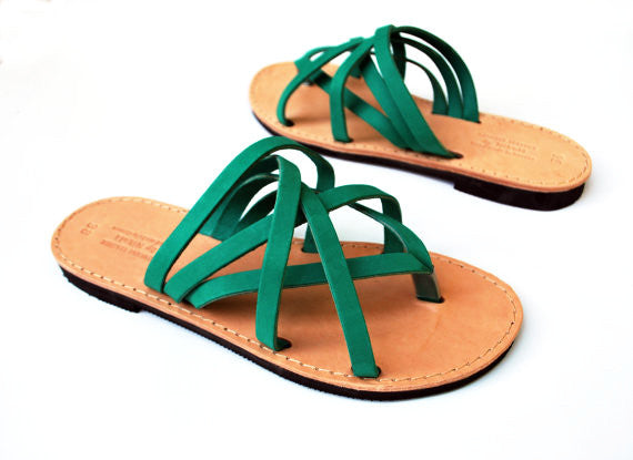 """Hera"" leather women slides in green side view"