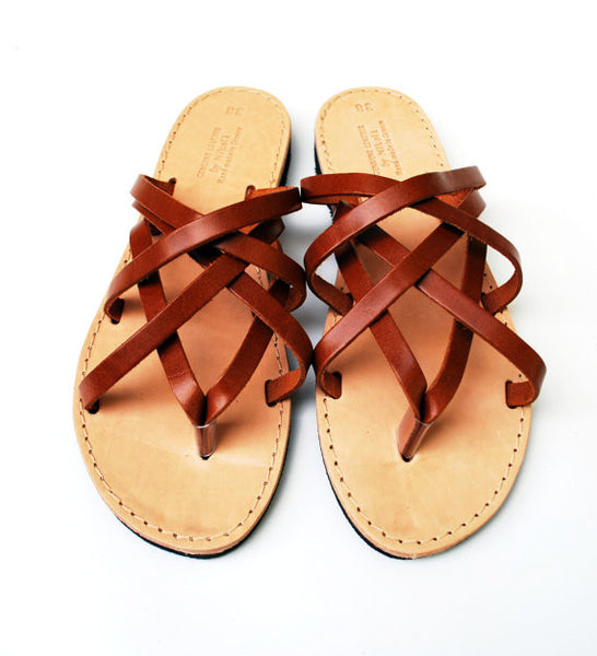 """Hera"" leather women slides in light brown"