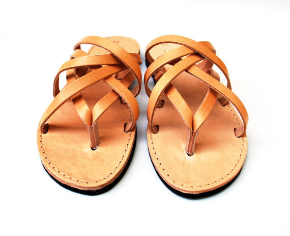 """Hera"" leather women slides in natural brown"