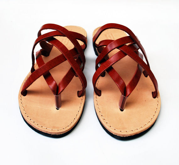 """Hera"" leather women slides in wine red"