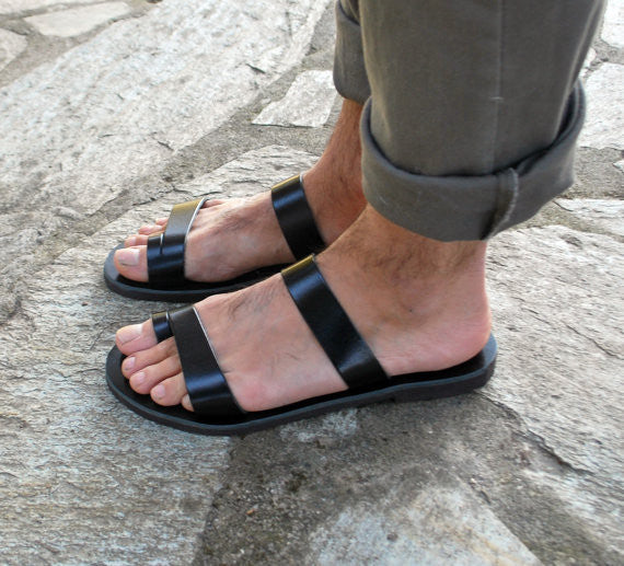 Leather sandals for men side view model