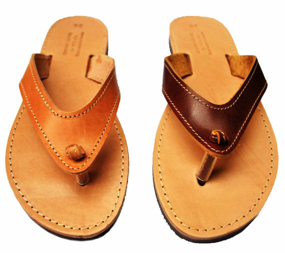Brown and natural brown women flip flops with wide straps