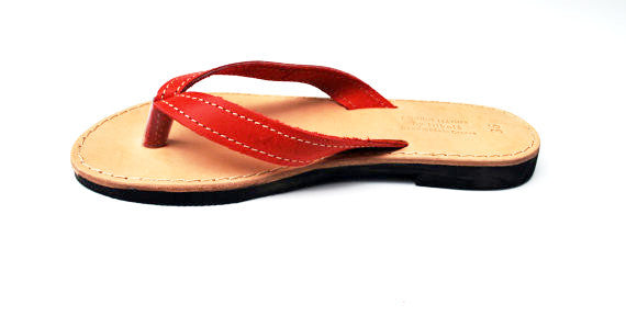 Red flip flops side view