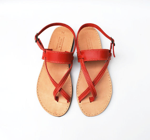 Red boho toe wrapper sandals