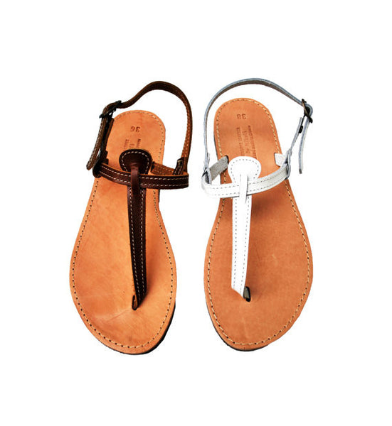 T strap leather sandals in brown and white