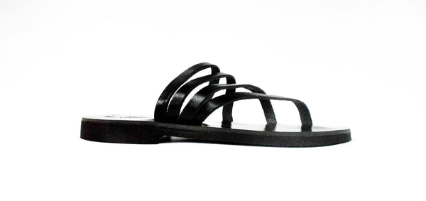 """Venus"" sandal slides in black side view straps"