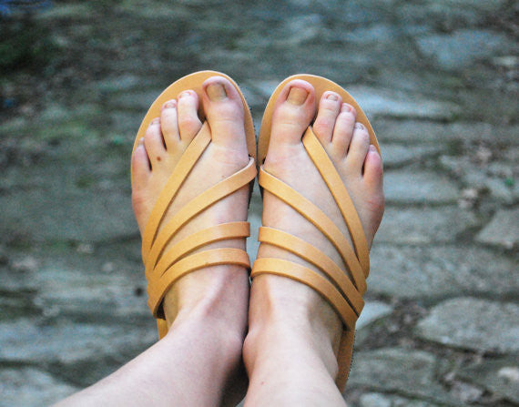 """Venus"" sandal slides in natural brown view"