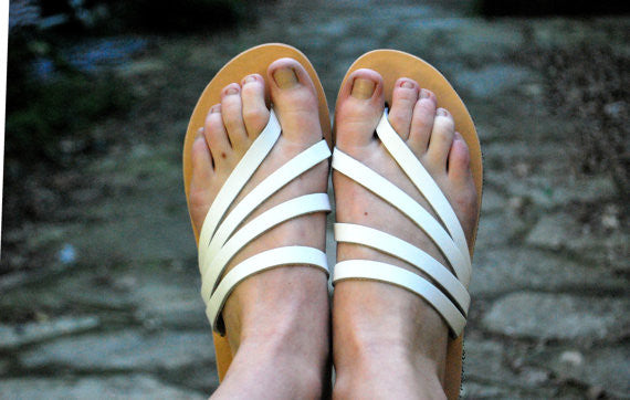 """Venus"" sandal slides in white front view"