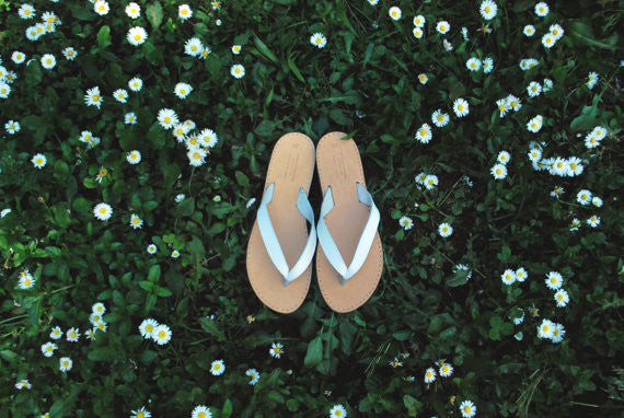 White flip flop sandals with flowers
