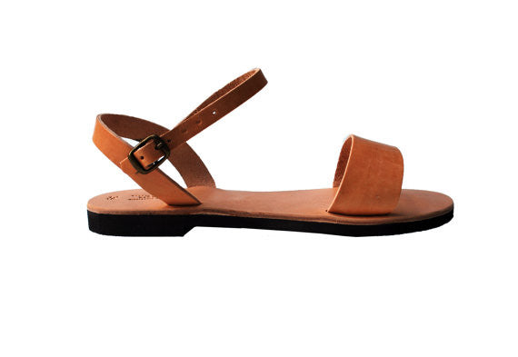 "Wide strap ""Persephone"" ankle strap sandals side view"