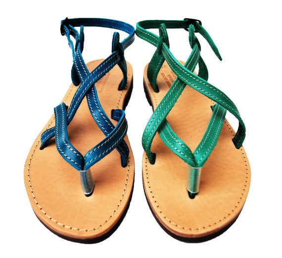 Blue and green strappy women sandals