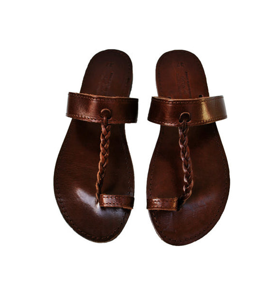 Brown Leather Braided Flip Flops