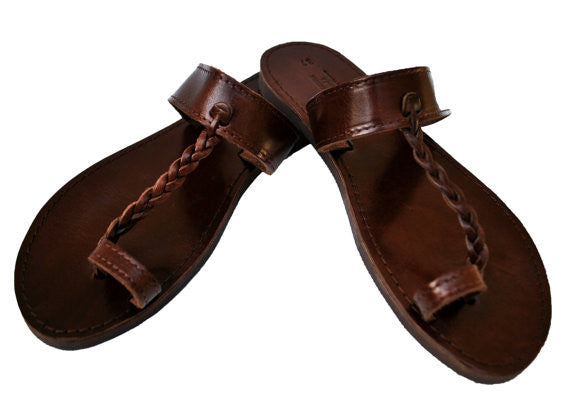 Dark brown toe ring braided sandals