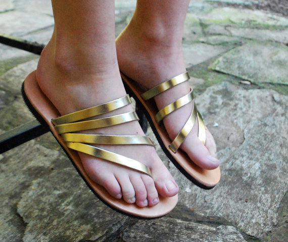 """Venus"" sandal slides in gold side view"