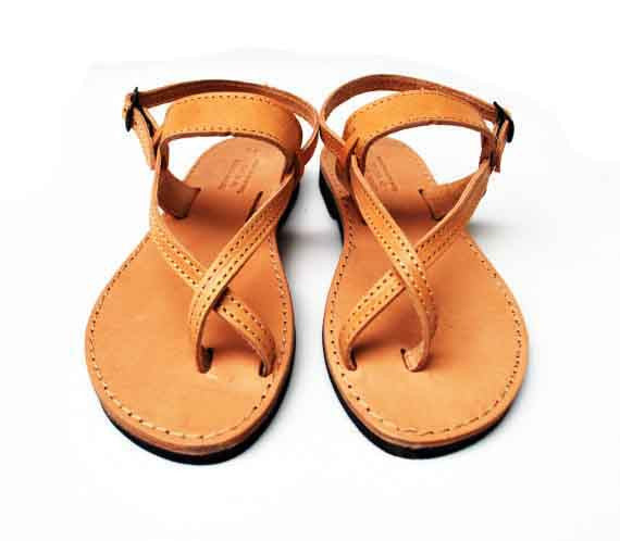 Natural brown leather sandals