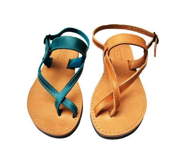 "Toe wrapper ""Artemis"" leather sandals in blue and natural brown"