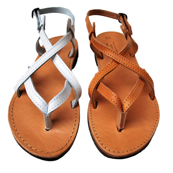 Natural brown and white strappy leather sandals
