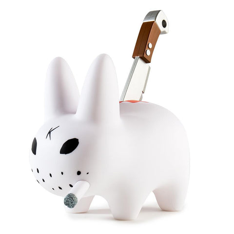 White Backstab Smorkin Labbit Art Figure by Frank Kozik