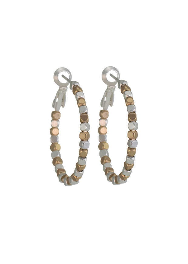 MERX - SQUARE BEAD HOOP EARRINGS