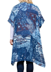 PAPARAZZI - FLORAL DISTRESSED GRAPHIC KIMONO - BLUE