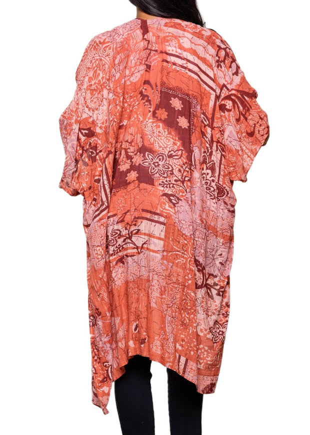 PAPARAZZI - FLORAL DISTRESSED GRAPHIC KIMONO - TERRA COTTA