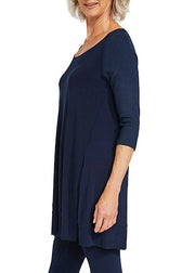 JERSEY MOTION TRIM RAGLAN SLEEVE TUNIC - NAVY