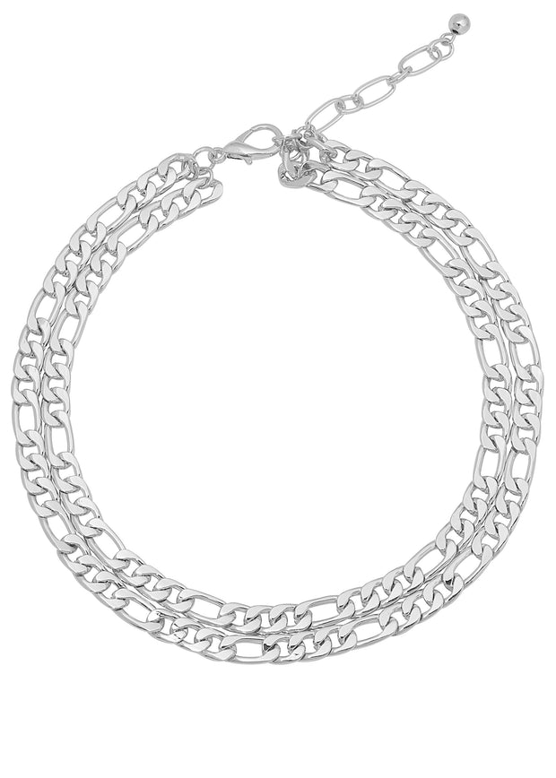 DOUBLE SILVER CHAIN NECKLACE
