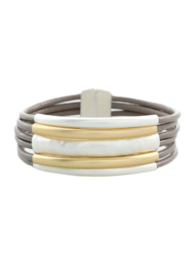 MERX - MATTE GOLD AND SILVER SIX STRAND BRACELET - 1056089