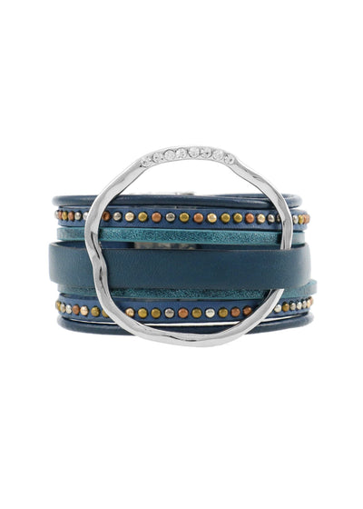 WIDE LEATHER WITH RING BRACELET - BLUE