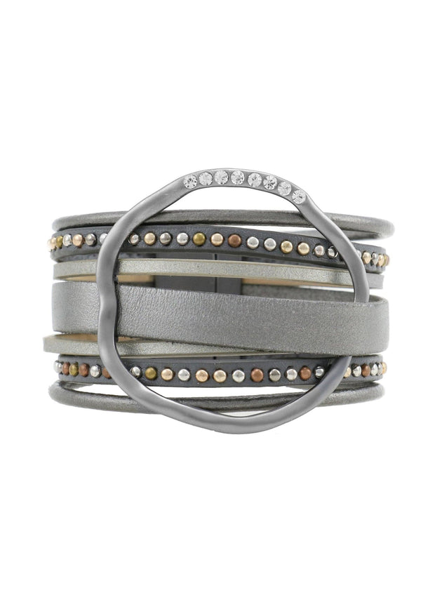 WIDE LEATHER WITH RING BRACELET - GUNMETAL