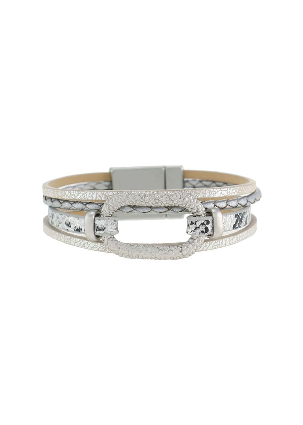 ANIMAL LEATHER BRACELET - LIGHT GREY