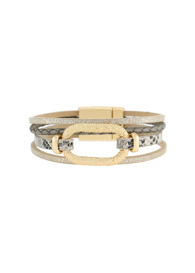 ANIMAL LEATHER BRACELET - TAUPE