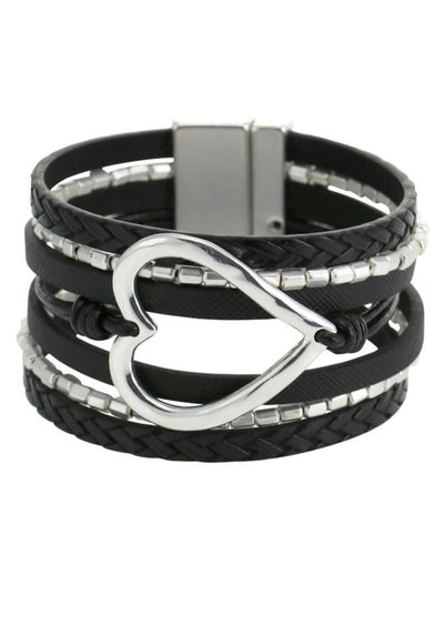 HEART SNAP BRACELET - BLACK